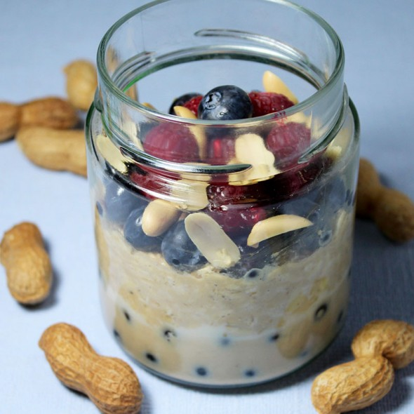 Rezept Overnight Oats Erdnussbutter Blaubeere