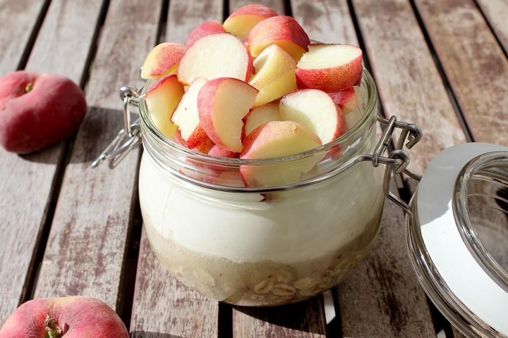 Rezept Overnight Oats mit Honigmelone und Plattpfirsich-Quark