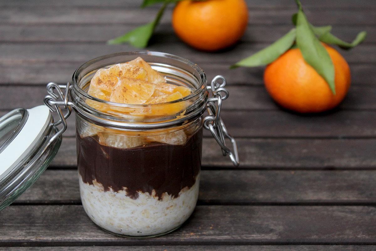 overnight oats zimt schokolade mandarinen