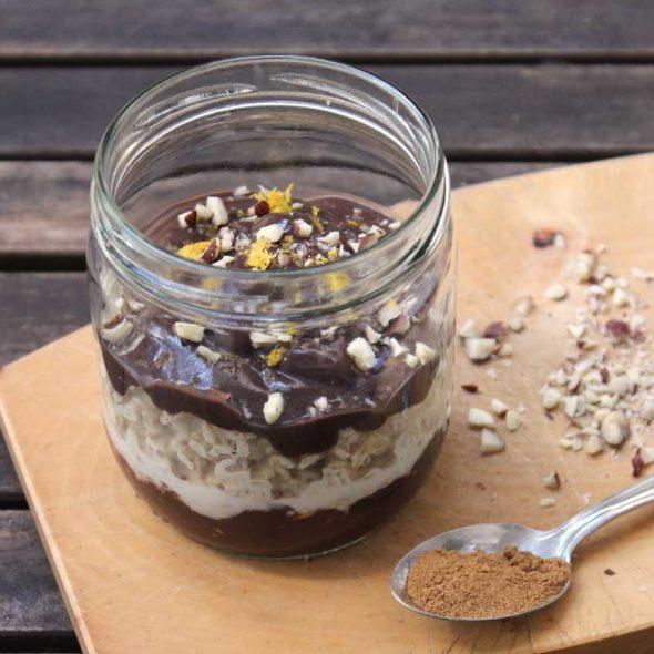 Overnight Oats mit Schokolade und Lebkuchen