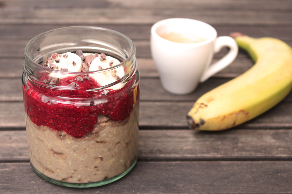 Ovenight_Oats_Bananenkaffee_Himbeerchiapudding